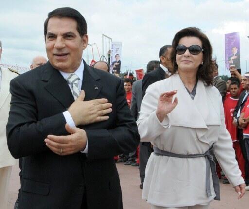 L'ex-président Ben Ali accompagné de son épouse, Leïla Trabelsi.