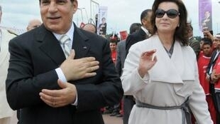 L'ex-président Ben Ali accompagné de son épouse, Leïla Trabelsi, le 11 octobre 2009.
