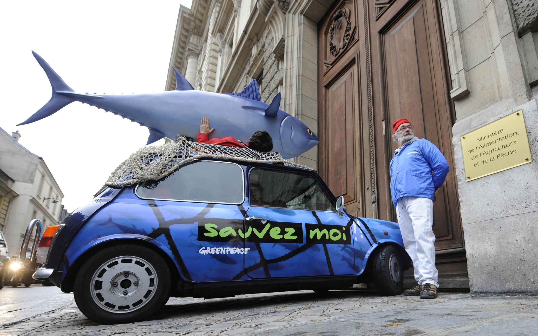 Manifestação do Greenpeace em frente ao ministério da Agricultura francês contra a pesca do atum vermelho no dia 10 de novembro de 2010.