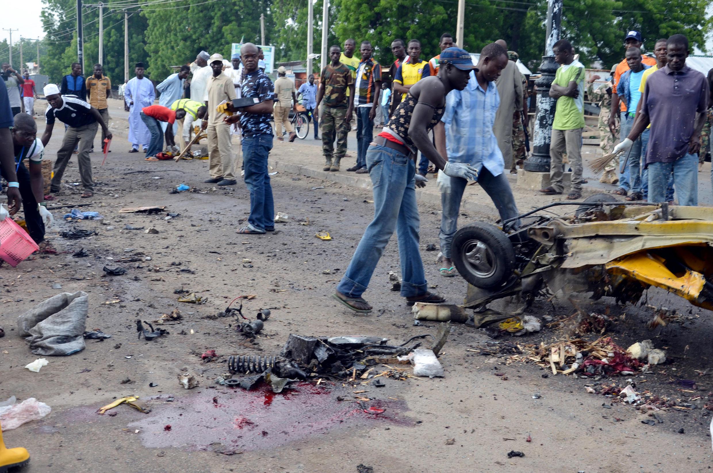 L'Etat de Borno est régulièrement frappé par des attentats. Ici, après une explosion sur un marché de Maiduguri, le 31 juillet 2015.
