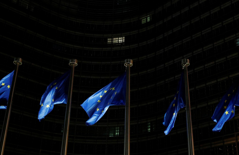 Флаги Евросоюза у здания Еврокомиссии в Брюсселе