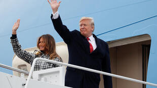 The US president and his wife board Air Force One for Paris, 9 November 2018.