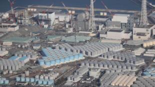 Vista aérea de la planta nuclear de  TEPCO Fukushima Daiichi, el 14 de febrero de 2021 en Japón