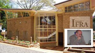 Christian Thibon, directeur de l'Ifra. En arrière plan, le siège de l'lnstitut Français de recherche sur l'Afrique à Nairobi au Kenya.