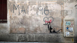 A recent artwork believed to be attributed to British activist-artist Banksy is pictured in Paris, France, June 25, 2018.