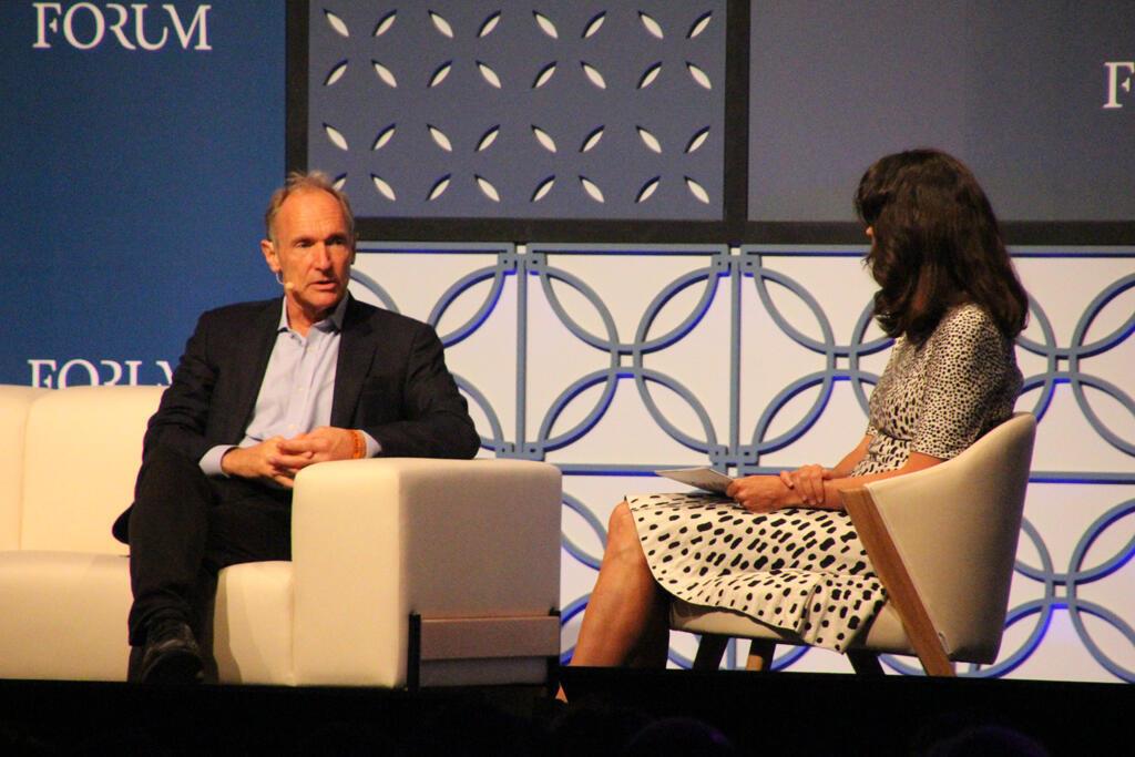 Tim Berners-Lee (left), speaking at a Web Summit.