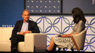 Tim Berners-Lee (left), speaking at a Web Summit.