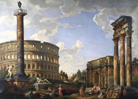 Giovanni Paolo Panini pintou um conglomerado de monumentos históricos em 1734