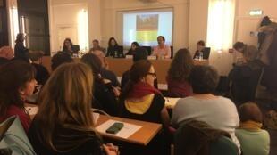 Ato de criação da rede Solidariedade Francça Brasil teve plateia lotada no anfiteatro do Instituto de Altos Estudos da América Latina (IHEAL), em Paris, em 18 de janeiro de 2019.
