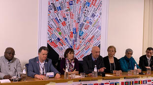 Survivors of clerical sexual abuse addressing reports at Foreign Press Association in Rome