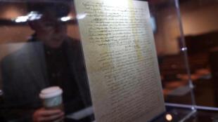 A carta de Albert Einstein foi exposta na casa de leilões Christie's, em Nova York.