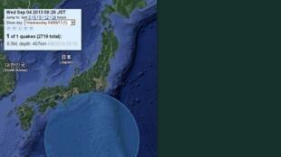 Fotomontagem do site japanquakemap, que mostra a parte central do Japão, no dia 4 de setembro, de madrugada, quando aconteceu um forte terremoto de magnitude de 6,9.