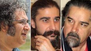Les trois écrivains emprisonnés (de g à d) : Baktash Abtine, Keyvan Bajan et Reza Khandan-Mahabadi.
