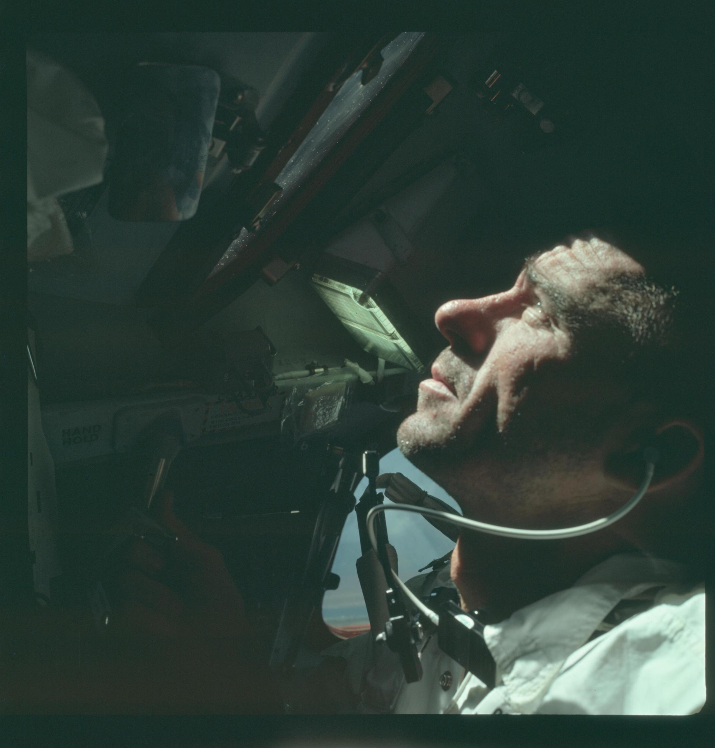 Astronaut Walter Cunningham, Apollo 7 lunar module pilot, is photographed during the Apollo 7 mission in this NASA handout photo