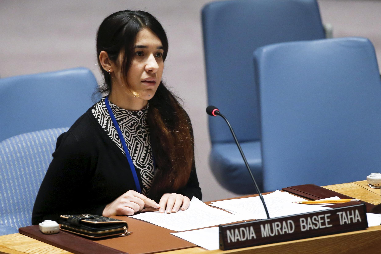 L'Irakienne Nadia Mourad, 21 ans, livre son témoignage dans une séance poignante du Conseil de sécurité des Nations unies. New York, le 16 décembre 2015.