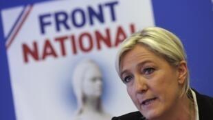 Марин Ле Пен, лидер Национального фронта в Нантерре 27/05/2014 (архив)