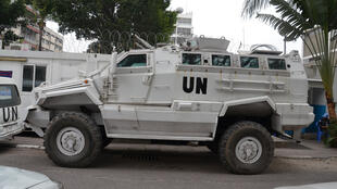 Un blindé de la Monusco à Kinshasa en RDC.