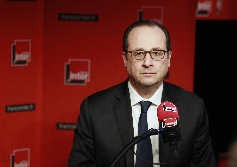 O presidente francês, François Hollande, durante entrevista à rádio France Inter.