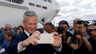 French economy minister Bruno Le Maire during his visit to STX shipyard in Saint-Nazaire on 31 May 2017.