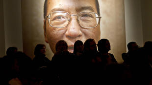 A picture of Liu Xiaobo seen inside the Nobel Peace Center on the day of The Nobel Peace Prize ceremony in Oslo on December 10, 2010.