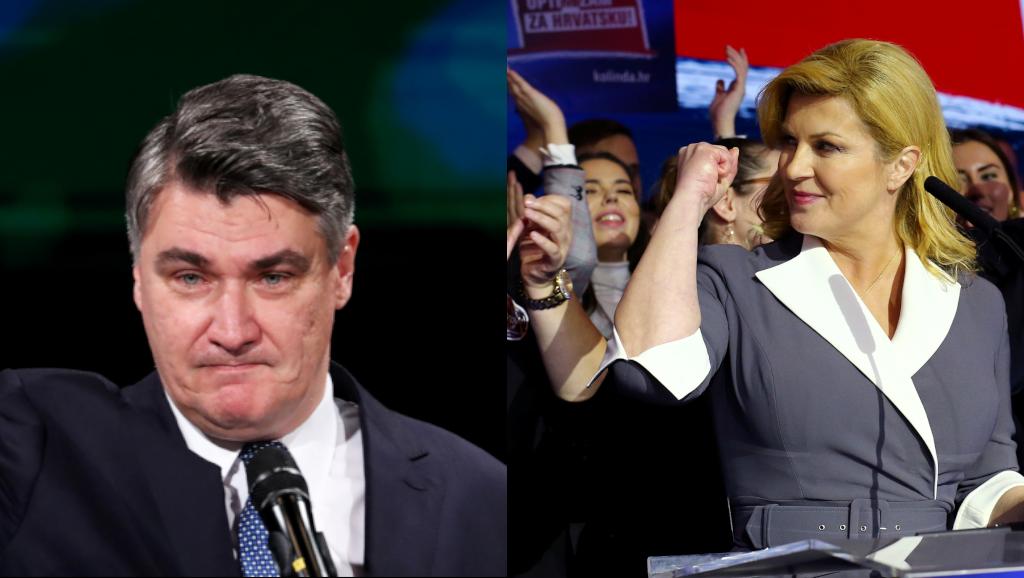 En Croatie, le candidat social-démocrate Zoran Milanovic en tête au premier tour de la présidentielle (g.) et la présidente sortante Kolinda Grabar-Kitarovic (d.).