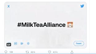 Twitter tạo biểu tượng emoji mới cho hashtag Milk Tea Alliance (Liên Minh Trà Sữa) để ủng hộ phong trào dân chủ ở châu Á. Ảnh chụp màn hình Twitter.