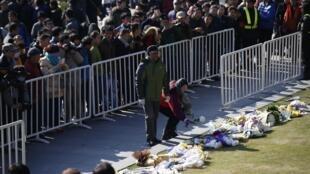 Tưởng niệm các nạn nhân vụ giẫm đạp tại đại lộ Bund ở Thượng Hải, 01/01/2015.