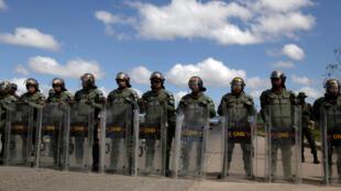 La Guardia Nacional Bolivariana en la frontera con Brasil, este 22 de febrero de 2019.