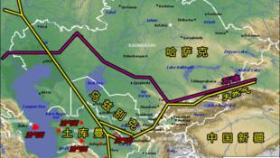 中亚油气管道建设。