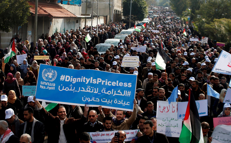 Manifestation à Gaza de milliers d'employés de l'UNRWA, l'agence de l'ONU qui vient en aide aux réfugiés palestiniens, le 30 janvier 2018.