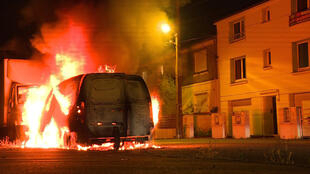 A vehicle in flames in Nantes on Thursday night