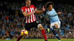 City's Leroy Sane scores his team's sixth goal against Southampton.