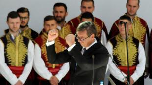 Le président serbe Aleksandar Vuvic lors de son discours à Mitrovica, au Kosovo, le 9 septembre 2018.