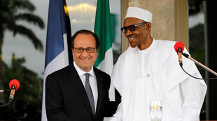 French President François Hollandeand Nigeria's Muhammadu Buhari in Abuja 14 May 2016