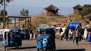 Scène de rue à Lalibela, dans la région Amhara, au nord de l'Éthiopie, le 2 février 2019.