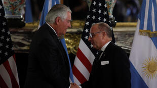 O  Secretário de Estado  americano Rex Tillerson e o Ministro dos Negócios Estrangeiros da Argentina, Jorge Faurie.Buenos  Aires. 4 de Fevereiro de 2018