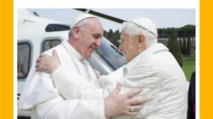Francisco y Benedicto XVI se dieron un caluroso abrazo al pie del 'Vaticóptero'