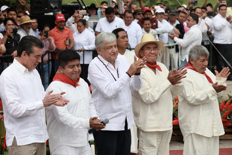 El presidente Andrés Manuel Lopez Obrador, 16 de diciembre de 2018, Palenque.