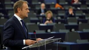 歐洲理事會主席圖斯克Donald Tusk在歐洲議會2019年3月27日斯特拉斯堡