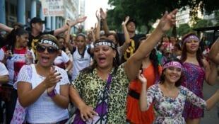 Des fidèles évangélistes à Rio de Janeiro, au Brésil, durant «La marche pour Jésus», évènement annuel et international. (Photo datée de 2013).