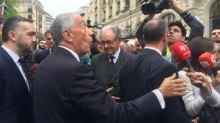 O Presidente português, Marcelo Rebelo de Sousa, em Paris - 8 de Abril de 2018