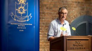 Victor Mallet, phóng viên của báo Anh Financial Times và là phó chủ tịch thứ nhất của Câu Lạc Bộ Phóng Viên Ngoại Quốc  (FCC), phát biểu ngày 14/08/2018, tại Hồng Kông.