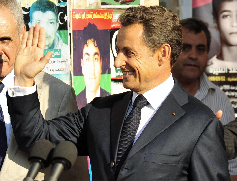 Президент Франции Николя Саркози в Бенгази 15 сентября 2011 года