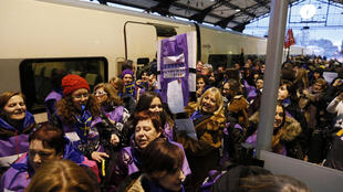 The Freedom Train organised by Spanish pro-abortion activists to take demonstrators to Madrid