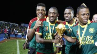 Karl Toko Ekambi (2e en partant de la gauche) lors de la victoire du Cameroun en Coupe d'Afrique des nations 2017