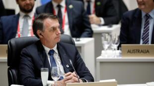 Jair Bolsonaro, durante a Primeira Sessão plenária da Cúpula de Líderes do G20, em junho passado, em Osaka, no Japão.