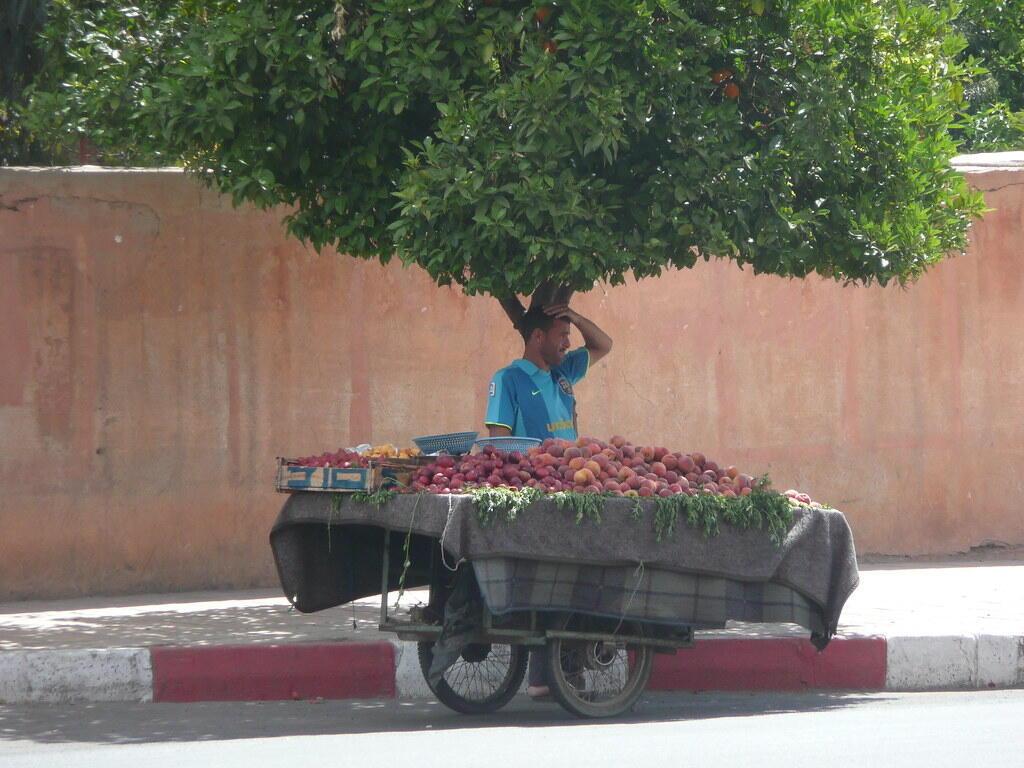Vendeur ambulant à Marrakech.