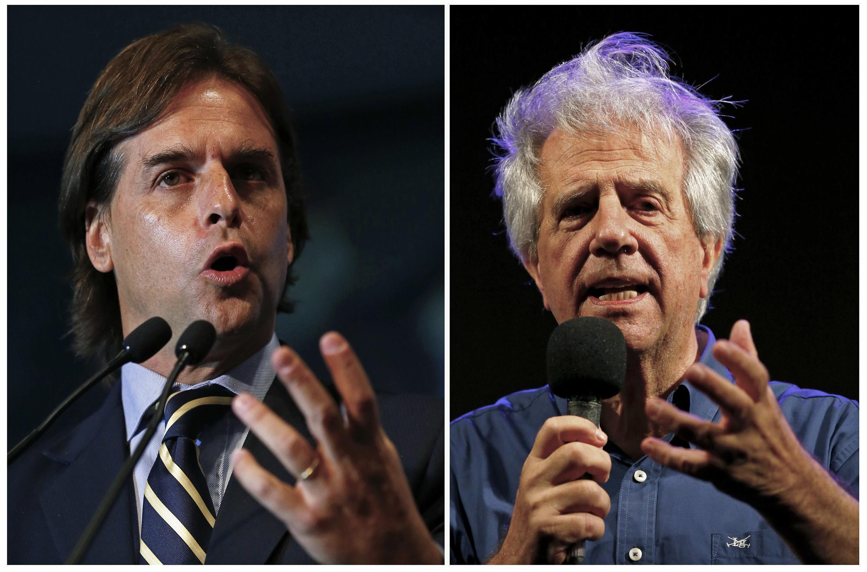 Luis Lacalle Pou (a la izquierda) y Tabaré Vázquez (a la derecha) en actos previos a la 2ª vuelta presidencial