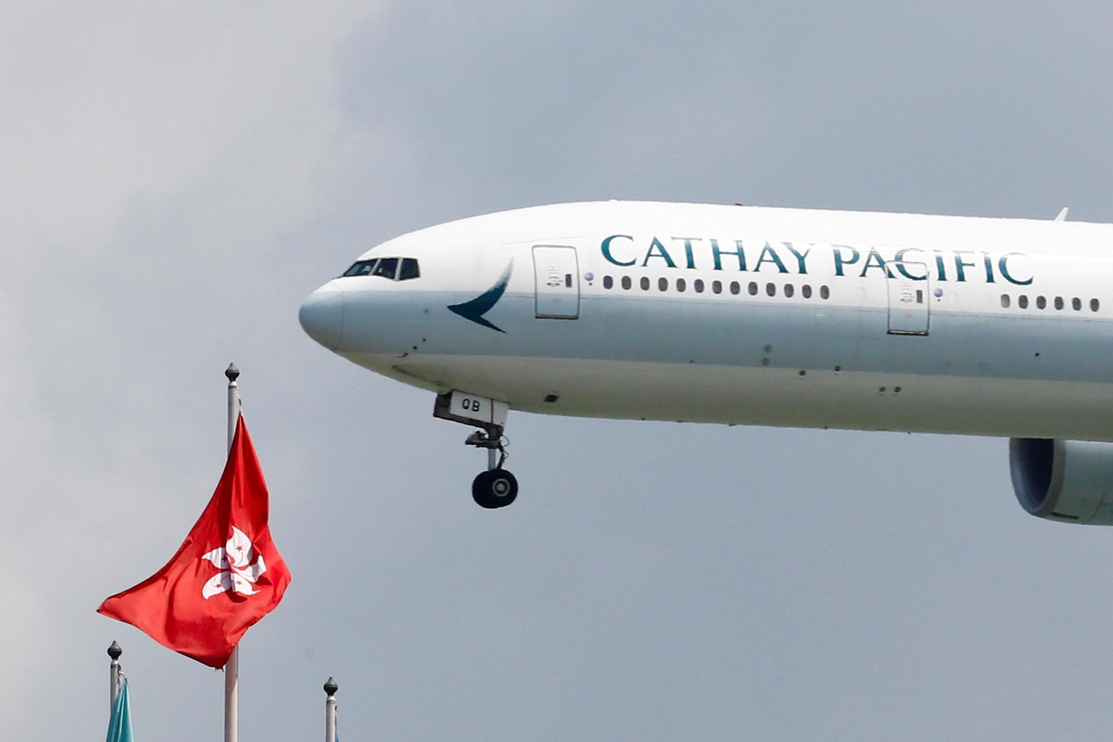 Một chiếc Boeing 777-300ER của Cathay Pacific tại sân bay Hồng Kông, ngày 14/08/2019