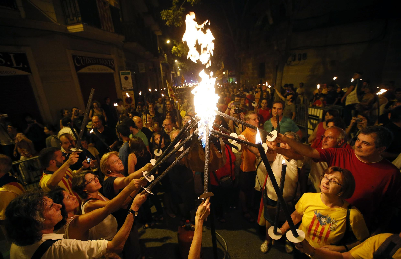 Манифестация в Барселоне накануне Национального дня  Каталонии, 10 сентября 2014 г.